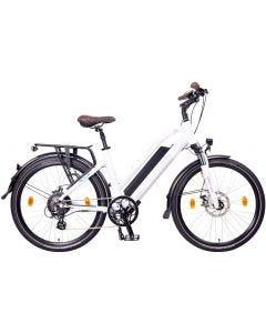 "NCM Milano Bicicleta eléctrica de Trekking, 250W, Batería 48V 13Ah 624Wh-26""-Blanca"